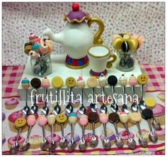 fiesta de te ,party tea ,cucharitas decoradas ,adorno de torta