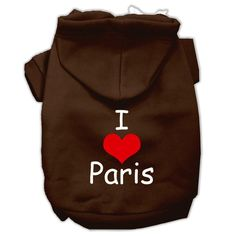 I Love Paris Screen Print Pet Hoodies Brown Size Med (12)