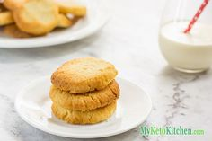 """""""Our Vanilla Shortbread Cookies are Gluten Free, Grain Free, Sugar Free and suitable for diabetics and those on a Low Carb Diet. Made using Almond flour these Buttery Vanilla Shortbread Cookies are delicious, crumbly and sweet! Keto Cookies, Butter Cookies Recipe, Vanilla Cookies, Shortbread Cookies, Low Carb Sweets, Low Carb Desserts, Low Carb Recipes, Healthy Sweets, Cookie Recipes"""