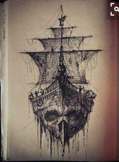 https://vodou-zo.blogspot.com/2018/03/papa-vodou-du-benin.html Tatoo Art, Skull Tattoos, Leg Tattoos, Boat Tattoos, Body Art Tattoos, Pirate Ship Drawing, Boat Drawing, Pirate Boat Tattoo, Pirate Tattoo Ink