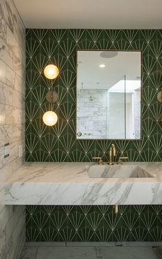 Beautiful vanity wall with cement tile from Marrakech Design. Love it!
