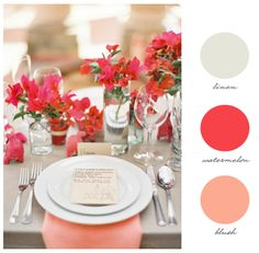 Another possible color palette for Baby Poole's nursery if its a girl! Pops of coral and peach with the navy crib will be so cute!