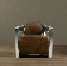 RH Atlantic Coupe Leather Swivel Chair