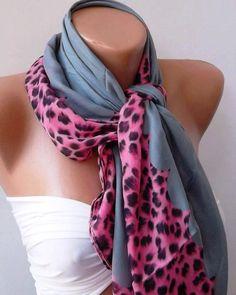 Fashion Shawl  Cotton Scarf  Headband  Necklace  Leopard by womann, $12.90