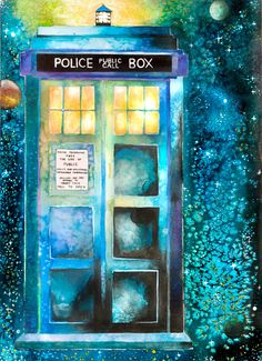 Doctor Who Time And Relative Dimension In Space - print, fine art design space galaxy print galactic illustration sci-fi blue green yellow stars TV show allusion, modern trendy wall art