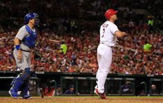 Matt Holliday watches his two-run home run against the Los Angeles Dodgers... fifth inning. 7-18-14