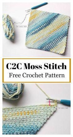 C2C Moss Stitch Free Crochet Pattern #freecrochetpatterns