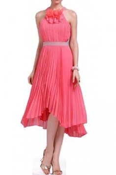 $177.00 Feel fancy and free in this pretty pleated dress that's perfect for twirling from party to party.  Round halter neck. Sleeveless.Allover micro-pleating. Contrast banded waist. Ruffle embellishment at neck.High-low hem.Chiffon: Polyester.Dry Clean.Imported