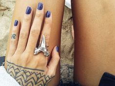 Shark Tooth and Deep Ocean Blue Nails