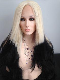 Lace Front Wig, Ombre, Black, Pale Blonde, Heat Resistant, Gwen Stefani