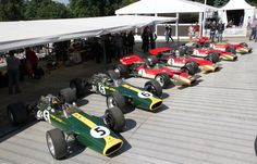 The six surviving Works Team Lotus 49s (Goodwood 2017)