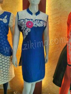 Designer Blue Summer Kurti  Product Code : ZK0AT1011  Rs. 620- Only  For Queries: Mail Us : care@zikimo.com Whats App, Line, We Chat or Call us : +91-8284 833 733