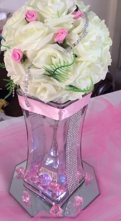 Quinceanera Party Planning – 5 Secrets For Having The Best Mexican Birthday Party Quinceanera Centerpieces, Quinceanera Party, Party Centerpieces, Floral Centerpieces, Floral Arrangements, Wedding Decorations, Quince Decorations, Paris Birthday, Paris Party
