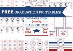 Free Graduation Party Printables!!  #freeprintables #freegraduationprintables