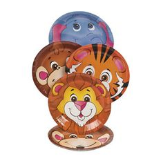 Zoo Animal Friends Dessert Plates (8) : These fun animal themed plates are just the thing for cake, icecream and other yummy treats at your zoo or safari jungle themed Birthday party. Depicting various animals, these will look great on your party table.