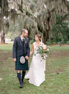 Traditional Scottish groom: http://www.stylemepretty.com/2016/06/02/this-elegant-plantation-wedding-defines-southern-romance/ | Photography:Ashley Seawell Photography - http://ashleyseawellphotography.com/index2.php#!/HOME