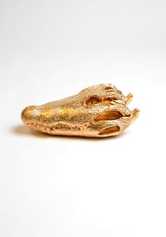The Crocodile Skull - Gold Resin Alligator Head - Crocodile Resin White Faux Taxidermy - Chic & Trendy Desktop Decoration