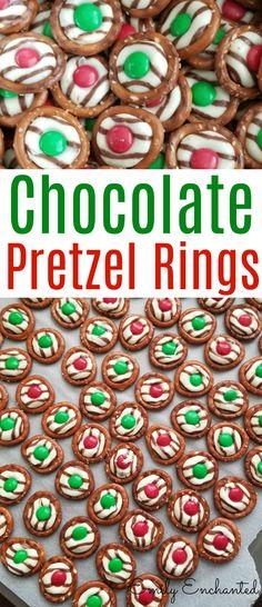 Chocolate Pretzel Rings with Kisses and M&Ms, Christmas Treat Holiday Snacks, Christmas Snacks, Christmas Cooking, Christmas Recipes, Christmas Chocolates, Xmas Food, Christmas Goodies, Christmas Projects, Christmas 2019