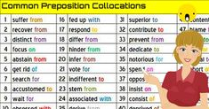 In English, many nouns, verbs, and adjectives are commonly followed by prepositions.