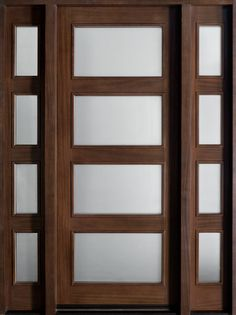 Contemporary Series Mahogany Solid Wood Front Entry Door - Single with 2 Sidelites - DB-823W 2SL