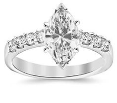 GIA Certified 0.97 Carat Marquise Cut/Shape 14K White Gold Classic Prong Set Round Diamond Engagement