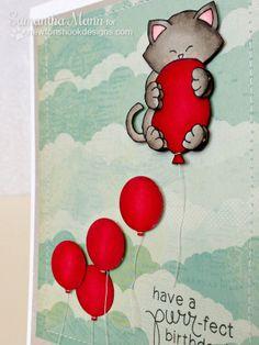 Sam's Scrap Candy - Super cute kitty birthday card using Newton's Birthday bash stamp set from Newton's Nook Designs!