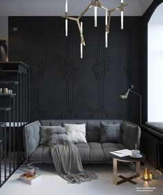 Black walls: it seems like people either love them or hate them. A black walled interior is certainly a bold design choice and not for everyone. Black walls command attention in the most dramatic of ways. They absorb a lot of natural light, so beRead Black Interior Design, Home Interior, Interior Design Inspiration, Interior Decorating, Design Ideas, Design Projects, Decorating Ideas, Modern Interior, Decor Ideas
