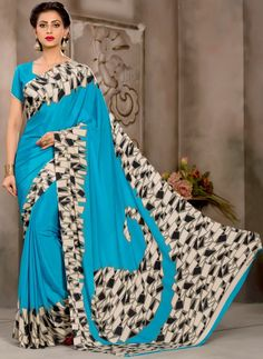 Looking for blue colour sarees? We have different color shade like royal, light, navy blue sarees. Try our exlusive range of blue silk saree, chiffon saree and georgette saree at Andaaz Fashion UK. Crepe Saree, Chiffon Saree, Silk Crepe, Indian Sarees Online, Silk Sarees Online, Indian Bridal Wear, Indian Ethnic Wear, Designer Sarees Collection, Saree Collection