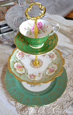 Green and Gold Cakestand 3 Tier Vintage China by TeaTimesCreations, $185.00