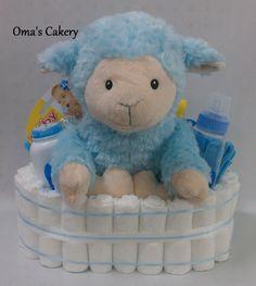 Blue Lamb Diaper Basket by OmasCakery on Etsy, $30.00
