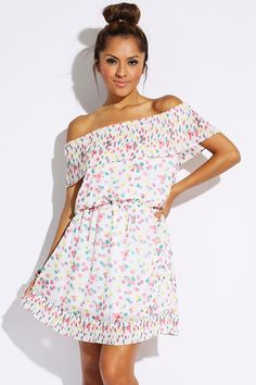 #1015store.com #fashion #style white multi polka dot pleated off shoulder chiffon A line sundress-$10.00
