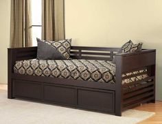 Hillsdale Hillsdale Miko Wood Daybed with Trundle in Espresso Finish - Furniture & Mattresses - Bedroom Furniture - Beds Wooden Trundle Bed, Pop Up Trundle Bed, Trundle Daybed, Wooden Sofa Designs, Wooden Sofa Set, Wood Sofa, Home Decor Furniture, Bedroom Furniture, Furniture Design