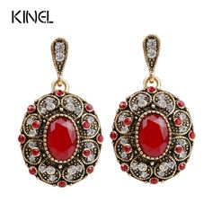 Fashion Vintage Jewelry Earring Unique Plated Ancient Gold Mosaic AAA Crystal Big Oval Red Earrings For Women 2017 New Gift