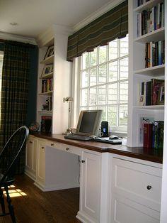 Sunroom office w/ Mahogany countertop - Aniela Hunder - Re-Wilding Sunroom Office, Small Sunroom, Home Office Design, Home Office Decor, Office Ideas, Home Decor, Desk Ideas, Room Ideas, Built In Desk