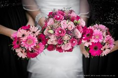 Bright pink bouquets of roses and gerberas. www.lindavos.co.za Pink Bouquet, Bridal Bouquets, Bright Pink, Beautiful People, Floral Wreath, Reception, Roses, Wreaths, Wedding