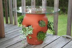 Use a strawberry pot as an inexpensive side table on your deck! First plant small vines or other trailing plants in the holes of the pot. Strawberry Planters, Strawberry Garden, Garden Crafts, Garden Projects, Garden Planters, Garden Inspiration, Container Gardening, Planting Flowers, Growing Flowers