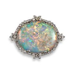 An edwardian opal and diamond brooch Opal Jewelry, I Love Jewelry, Silver Jewelry, Fine Jewelry, Jewelry Design, Edwardian Jewelry, Antique Jewelry, Diamond Brooch, Blue Opal