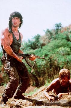 Rambo: First Blood Part II - Publicity still of Sylvester Stallone & Andy Wood Sylvester Stallone, Hollywood Actor, Hollywood Celebrities, Hollywood Actresses, Rambo 2, Stallone Rocky, Keanu Reeves John Wick, 90s Movies, Watch Movies