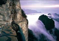 Tianmenshan (天门山, or Heaven's Gate Mountain) plank road in Hunan, China    http://www.china-zjj.net/html/20100117/20100117111922.htm