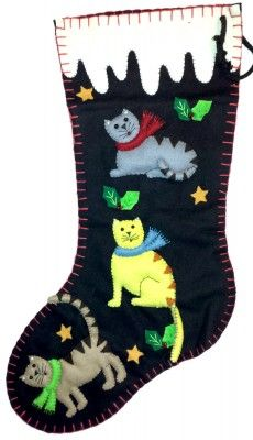 18″ Kitty Cats Felt Applique Christmas Holiday Stocking | Little Handcrafts