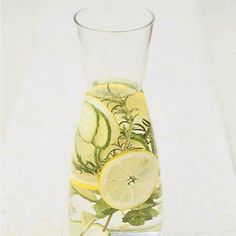 Herb-infused Spa Water Recipe - Blend up a cucumber and pour it through a very fine strainer (I like to line a sieve with cheesecloth). Let this concoction drip through in the fridge overnight. Mix the resulting cucumber juice with a pitcher of water (you can stretch this out this depending on how strong you like it ).
