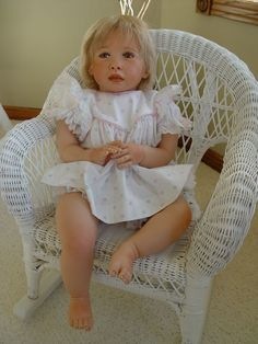 "Reborn toddler Chenoa by Jennie de Lange. 27"" tall."