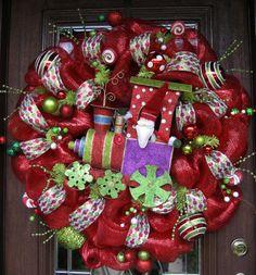 30 Deco Mesh MERRY CHRITMAS TRAIN Wreath by decoglitz on Etsy