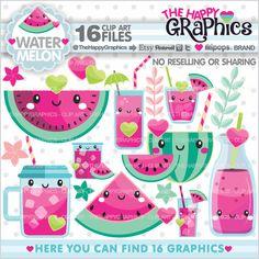 Watermelon Clipart, Watermelon Graphics, COMMERCIAL USE, Kawaii Clipart, Watermelon Party, Summer Clipart, Tropical Clipart, Summer Party
