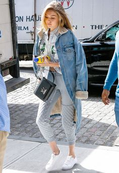 gigi hadid look comfy denim jacket