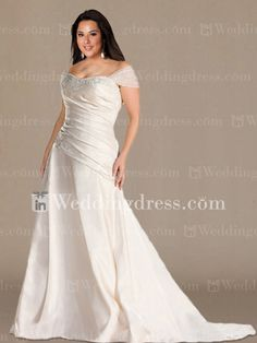 bec9793e9d4 Modest Off-the-Shoulder Plus Size Wedding Gown PS157. Full Figure ...