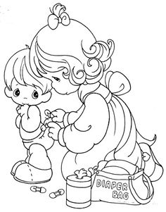 Mom changing baby's diaper, precious moments coloring pages