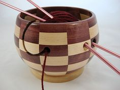 NEW Design! Wooden Knitting and Yarn Bowl, Segmented, Checker Board Pattern,Hard Maple with Purpleheart Wood, Lathe Turned