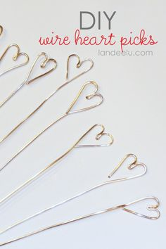 Easy Valentine Decorations: Wire Heart Picks - love the centerpiece she put them in, too