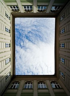 """Sky Window"" ©Philipp Klinger. When you need a break, just look up. Chances are that you'll see something amazing. Maybe the Moon, or falling stars, or cotton-like shapes, or rapidly moving clouds. Or just the ever calming sea of blue..."